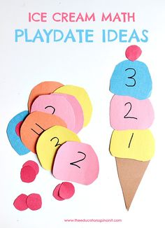 Fun and easy ice cream math playdate ideas for preschool, preK, and kindergarten using supplies you already have in your home or classroom. Counting to 10, recognizing numbers, numerical order