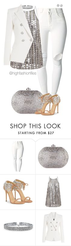 """""""Untitled #2654"""" by highfashionfiles ❤ liked on Polyvore featuring (+) PEOPLE, Judith Leiber, Wes Gordon, Bling Jewelry, Balmain and Bloomingdale's"""
