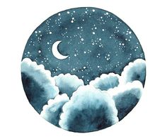 Indigo night Original watercolor painting Clouds by bluepalette