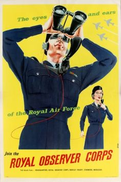 Royal Observer Corps Air Force, 1950s - original vintage poster by Grove listed on AntikBar.co.uk