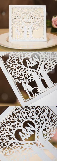 laser cut love tree monogram wedding invitations #stylishweddinginvitations