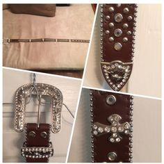 """DAZZLING GENUINE LEATHER NWOT MEDIUM SIZE BELT Stand Out Among The Rest With This Stunning Leather Belt Consisting of Iridescent Embellishments & Lined with Silver Beading Throughout Length With Buckle & Tip Encased in Rhinestones. NEVER WORN...Ordered Too Small. Genuine Leather With Interchangeable Buckle. Sizing Medium- Total Length 42"""", 31"""" to first hole, 36"""" to last hole. Accessories Belts"""