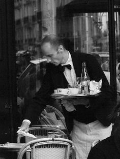 The Parisian Waiter, Cafes, French Essence, Vicki Archer