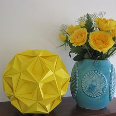 Yellow Home Decor Yellow Origami Ball Modern by JewelryByJolanta