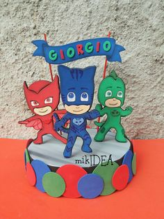 Paper Factory, Pj Mask, Mickey Mouse Birthday, Mask Party, Holidays And Events, Smurfs, Cake Toppers, Birthdays, Minions