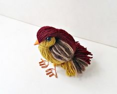 Cute Bird Made Of Leftover Yarn - Got too much yarn laying around? Don't know what to do will those pieces? This cute little yarn bird is super fun and easy to make. Check out the tutorial and give it a try! Bird Crafts, Glue Crafts, Recycled Crafts, Crafts To Make, Crafts For Kids, Arts And Crafts, Easy Crafts, Knitting Yarn, Knitting Patterns