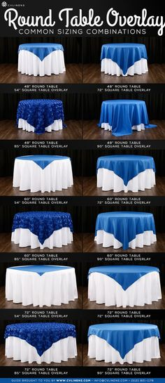 Round Table Overlay Sizing Guide (common combinations) Round table overlay sizing is easier than you think! Just check out our handy guide with pictures to determine your table overlay sizing combination style. Trendy Wedding, Dream Wedding, Wedding Day, Elegant Wedding, Wedding Centerpieces, Wedding Decorations, Quinceanera Decorations, Quinceanera Party, Table Overlays