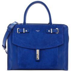 Guess Kingsley Satchel (£90) ❤ liked on Polyvore featuring bags, handbags, cobalt, guess purses, blue purse, handbag satchel, structured purse and satchel handbags