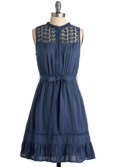 Mount San Jacinto Dress in Blue - Blue, Solid, Lace, Ruffles, A-line, Sleeveless, Casual, Summer, Boho, Mid-length, Belted, Button Down