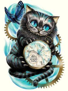 Cheshire Cat Drawing, Cheshire Cat Tattoo, Cheshire Cat Wallpaper, Disney Kunst, Disney Art, Disney Tattoos, Cheshire Cat Zeichnung, Tattoo Chat, Wolf Tattoo Design