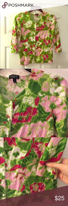 Talbots Green Pink Floral Petite Cardigan Small  Excellent condition! Thank you for looking! Talbots Sweaters Cardigans