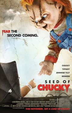 Everyones favorite plastic slasher doll, chucky voiced by brad dourif, returns. Photo of jennifer tilly from seed chucky 2004 with redman. Seed of chucky movie rating ages. Chucky Movies, Bride Of Chucky, Horror Movie Posters, Original Movie Posters, Horror Movies, Gothic Movies, Child's Play Movie, Love Movie, Sons