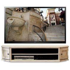 Shabby Chic Cottage Antique White Floating Wall Mount TV Stand - Vintage…