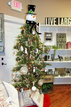 Have a unique Christmas Tree this year with Box Sign Ornaments and Decorative Throw Pillow Accents!
