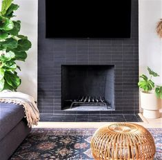 Discover recipes, home ideas, style inspiration and other ideas to try. Black Fireplace Surround, Subway Tile Fireplace, Black Brick Fireplace, Paint Fireplace, Brick Fireplace Makeover, Fireplace Hearth, Home Fireplace, Fireplace Remodel, Marble Fireplaces