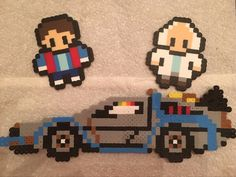 Back to the Future, Perler (Hama) Beads, Marty, Doc, DeLorean
