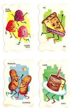 Dandy Candy Game (1950s). The game cards feature adorable food illustrations.  It looks like there was both a card game and a board game, by Built-Rite.  The board game seems to have been a CandyLand knock-off. (http://www.angelfire.com/az2/gamesgoneby/dandycandy17.html)