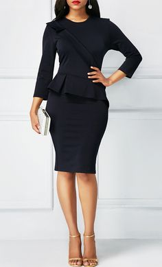 Back Slit Peplum Waist Navy Blue Sheath Dress, new arrival, check it out at www.rosewe.com.