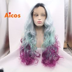Long wavy Lace front wig Heat resistant hair Dark Roots Ombre Black/Green/Purple…