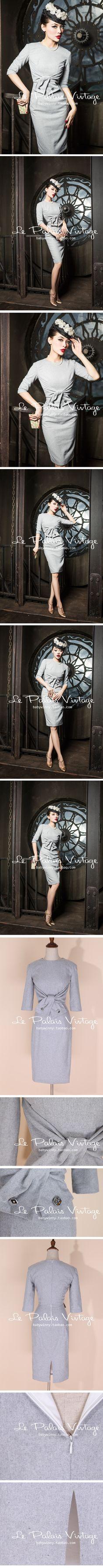 le palais vintage限量 优雅浅灰蝴蝶结腰封修身毛呢连衣裙【0.4-淘宝网 Retro Mode, Mode Vintage, Vintage Girls, 1940s Fashion, Vintage Fashion, Retro Outfits, Vintage Outfits, La Palais Vintage, Idda Van Munster