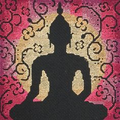 """Broderipakning - Buddha Siluete  Str. 13 x 13 cm. Sys med korssting på Aida str. 6,4 tr. pr. cm./16"""" efter tællemønster.   Pakken indeholder billede, stof, mønster, instruktion, garn og en nål.   Klik på billedet for at se det i større format."""