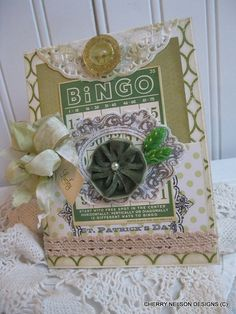 appers diecuts fabric canvas frame bingo card velvet pinwheel flower stick pins hand dyed ribbons laces stamping CARDS DO NOT COME WITH ENVELOPE St Patricks Day Cards, Saint Patricks, Bingo Board, Cherries Jubilee, Art Cards, St Pattys, Game Pieces, Graphic 45, Scrabble