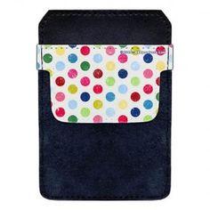 DekoPokit™ Leather Bottle Opener Pocket Protector w/ Designer Flap - Colorful Grunge Polka Dots