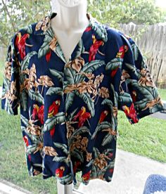 b5a837f4 Paradise Found VTG Hawaiian Shirt Made in Hawaii Parrots Blue Mens 2XL XXL # ParadiseFound #. Vintage Hawaiian ShirtsParadise FoundCasual ...