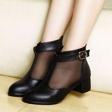Grace mujeres HEBILLA Grueso Tacón Bajo de malla con cremallera Chicas Damas Tobillo Boot Zapatos Talle