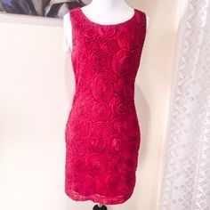 "Red Tulle Rose Dress Length - 33"" from shoulder to hem, bust & waist measures 16"" across, size S/P by Forever 21.  Worn once and is in perfect condition. Color is maroon red. Forever 21 Dresses"