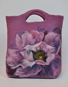 Magnificent HANDfelted handbag. Peony. OOAK by Renefelt on Etsy