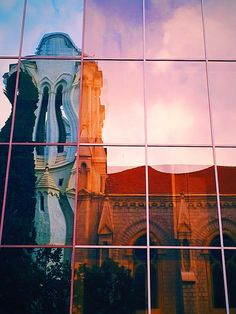 We captured the the beauty of architecture in a reflection in Nice, France