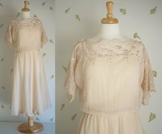 1980's Romantic Sheer Dress / Beige Lace / Scalloped by foxandrook