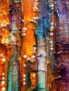 Achieve wonderful textures with acrylic paints, crackle paste and rhinestones. Mixed media wall art painting by ABYSSIMO