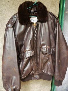 """Blouson cuir style aviateur"""" CREEKS"""",Blouson Homme cuir brun, blouson cuir vieilli et patiné ,Taille xxL. de la boutique FrenchTouchSoChic sur Etsy"""