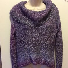 American Eagle Outfitters sweater Various shades of purple and greys in this lovely sweater.   Large shawl collar.   Back is longer than front of sweater.   Beautiful condition. American Eagle Outfitters Sweaters Cowl & Turtlenecks