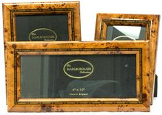 3 Marlborough Collection Blonde Burl Wood Picture Photo Frames w Marquetry #EnglishLuxury #Luxury #pictureframes