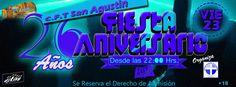 Foto portada de los 26 años del C.F.t San Agustín invitando a todos los alumnos al club la Piedra