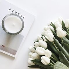 Cereal Magazine, white tulips and a rose scented candle. Day made! | onlinestylist on Instagram |