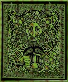 Green Man Tapestry - Green and black with oak leaf, acorn and Celtic details.