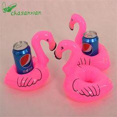 10 PCS Mini Rosa Flamingo Inflável Bebida Titulares Brinquedo Flutuante Banho de Piscina Pode Partido Bachelorette Party Suprimentos Frete Grátis, S