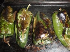 Kitchen Tip:  How to BLISTER (char) and PEEL Chili Peppers * POBLANO PEPPERS for Cheese Stuffed Chili Rellenos *