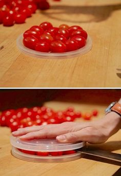 Cherry Tomato Hack. Slicing small cherry tomatoes individually can be kind of time-consuming when you are using them for a salad or other dish. Here is a super speedy and time-saving way to slice cherry tomatoes by using 2 plastic lids. Of course, you should have a large, sharp knife. See more directions