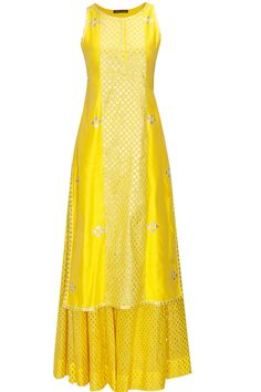 Yellow and coral applique work chanderi kurta set available only at Pernia's Pop Up Shop.