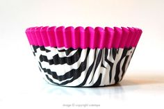 Zebra Cupcake Liners - Black and White with Pink Trim (32) $4.80