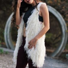 Faux Fur Vest Very soft and fluffy. Oversized fit so the S/M can fit anyone who is XS-M and the M/L can fit anyone M-XL. I recommend you wash before you wear due to the fuzz shedding. 50% spandex 50% acrylic. Also Available for less on my website  Please let me know what size you will need and I will make you your own listing. Please NO TRADES OR PAYPAL Other