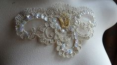 $3.00 Beaded Lace Applique in Gold Metallic for DIY Weddings, Bridal, Costume Design BRI 7