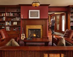 Craftsman living room living room craftsman with coffee table fireplace mantels Craftsman Living Rooms, Craftsman Interior, Craftsman Furniture, Craftsman Style, Craftsman Remodel, Craftsman Houses, Mission Furniture, Farmhouse Interior, Cream Living Rooms