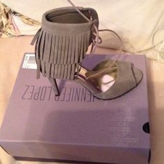 Brand new never worn jlo taupe heels Fringe comfortable brand new Jennifer Lopez Shoes Heels
