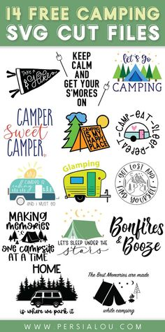 14 different SVG cutting files all about camping and exploring the great outdoors! Use these cut files with your Silhouette or Cricut to make awesome summer camping craft projects Cricut Air 2, Free Printables For Home, Free Hand Drawing, Sleeping Under The Stars, Collage Design, Craft Tutorials, Easy Diy Projects, Craft Projects, Create T Shirt